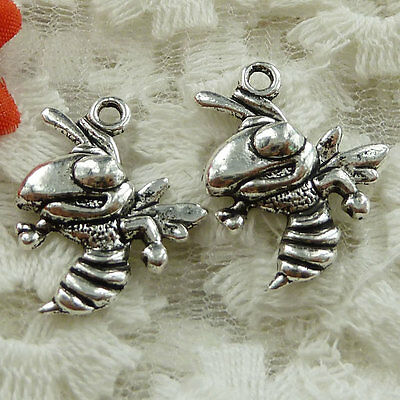 Free Ship 90 pieces Antique silver hornet charms 20x17mm#1600