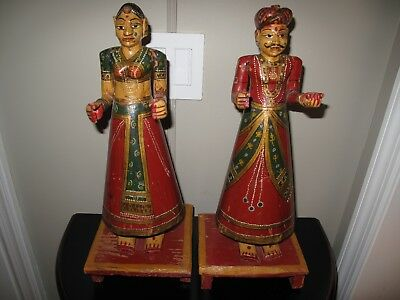 PAIR ANTIQUE GANGAUR FIGURES INDIA Hand Carved Hand Painted Wooden Holy Couple