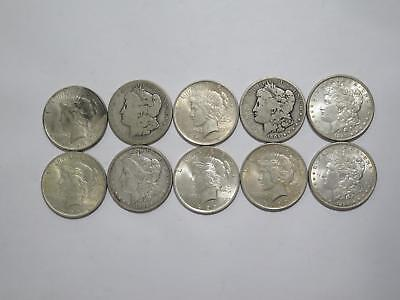 10- Morgan & Peace Dollars $1 90% Junk Silver U.s. Mint Old Coin Collection Lot