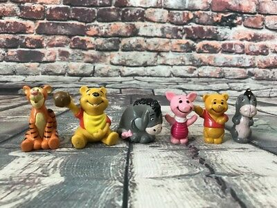 Lot of 6 Winnie The Pooh Cake Toppers Figures Tigger Piglet Eeyore & Pooh PVC