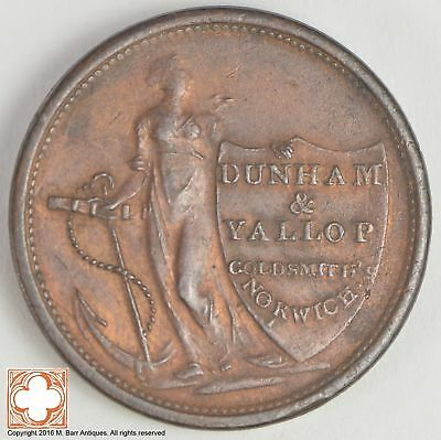 1811 Great Britain Dunham & Yallop Norwich 1/2 Penny Conder Token *XB74