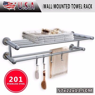 a946ef1af Stainless Steel Double Towel Rack Wall Mount Bathroom Shelf Bar Rail Hotel  Style
