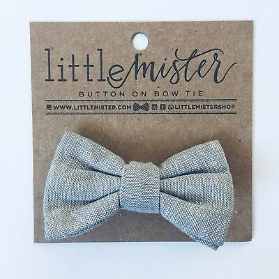 Little Mister Gray Bowtie Sz 0-2t Button On