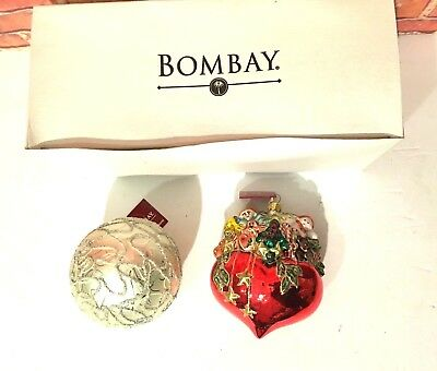 Lot of 2 Bombay Company Ornaments in Box (which shows a little shelf wear) Heart