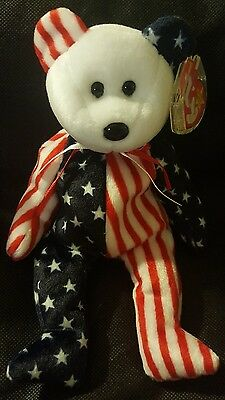 TY BEANIE ORIGINAL BABY STAR SWING TAG w/ Plastic Prot 1999 SPANGLE WHITE FACE