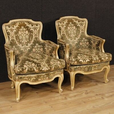 Pair armchairs wood lacquered furniture chairs living room antique style 900 XX