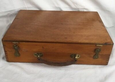 Antique Wood Artist Palette Box with Brass Hardware and Dovetail Corners