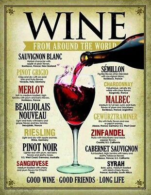 "Wine From Around the World Fabric Art Cloth Poster 20x13"" Decor   01"