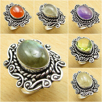 925 Silver Plated Real RED CARNELIAN & Other Gems Ring ! Multiple Sizes Option