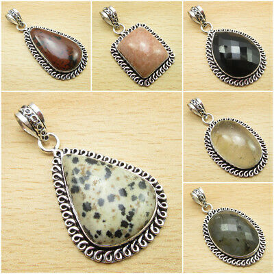 DALMATIAN JASPER & Other Variety of GEMSTONE, 925 Silver Plated OXIDIZED Pendant