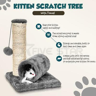 Cat Kitten Sisal Scratch Post Ball Toy W Tunnel & Play Mouse Pet Activity Fun