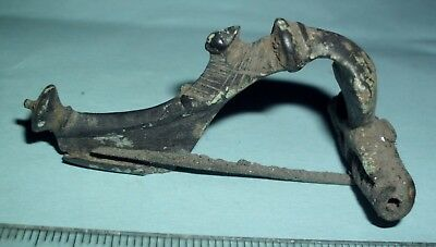 Ancient Roman High Profile Bronze Hunter Fibula Brooch With Duck - 100 Ad