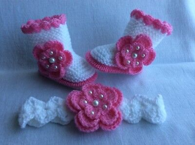 NEW Hand knitted Romany Bling baby   girl bootie/ crochet headband 0-3 months