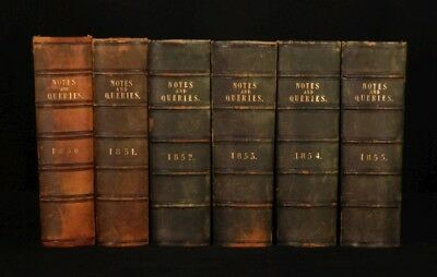 1849-1855 6 Vols NOTES and QUERIES W.J. Thoms