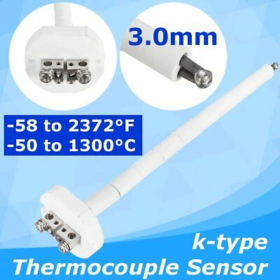US 3mm High Temperature Ceramic K Thermocouple Sensor Kiln Furnace 2372°F 1300℃