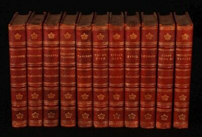 c1900 11vol NOVELS by Disraeli LIBRARY SET leather