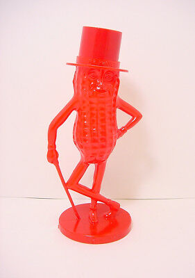 "1960s PLANTERS PEANUTS 8.25"" MR. PEANUT COIN BANK RED PLASTIC NEAR MINT! BEAUTY!"