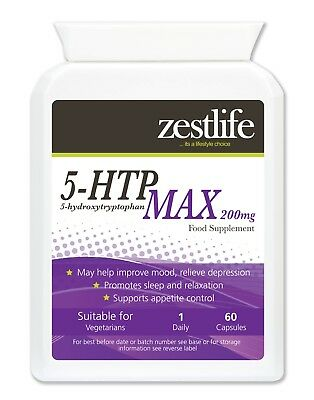 Zestlife 5HTP MAX 200mg Serotonin for mood, mild anxiety,sleep patterns, memory