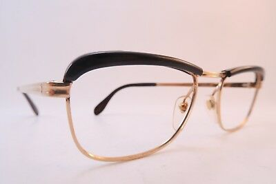 Vintage 60s eyeglasses frames gold filled brown brow made in France