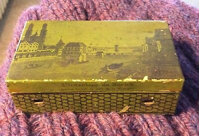lithograph Antique Music Box Green 1800's ,as Is