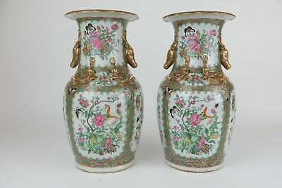 Nice pair of Antique Canton Chinese Porcelain Vases, Stag Handles, 19th Century