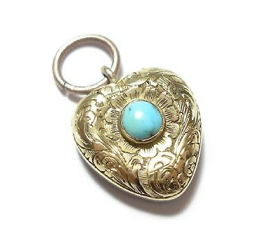 Beautiful Small Victorian 15 Ct Gold & Turquoise Locket Pendant Charm  (A3)