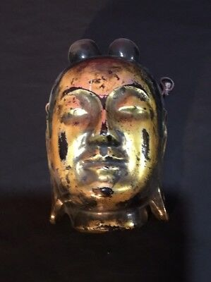 Vintage Antique Oriental Chinese Gilt Decorated Papaer Mache Mask