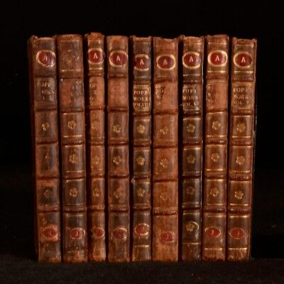 1736-1742 9Vol The Works of Alexander Pope Poetry