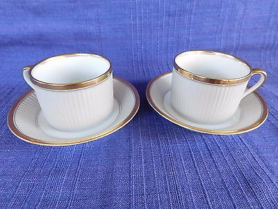 Fitz & Floyd CLASSIQUE d' Argent White FLAT CUP & SAUCERS LOT of TWO gold