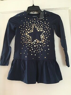 Girls Lands End Blue Dress With Gold Stars 6x-7 Nwt