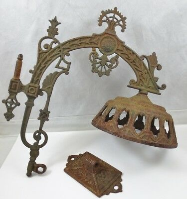 Antique Cast Iron Art Deco Ornate Sconce Light Fixture Arm Shade Bracket Resto
