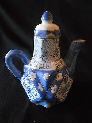 Unusual Blue and White vintage Chinese Tea Pot