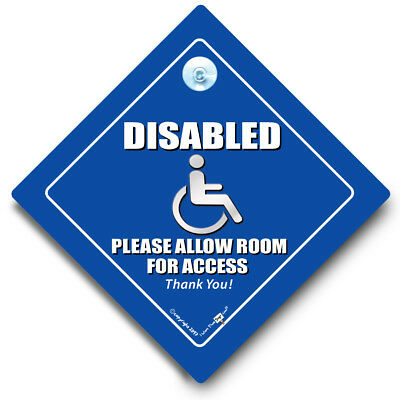 DISABLED Please Leave Access Car Sign, Blue Badge Sign, Wheelchair User Car Sign