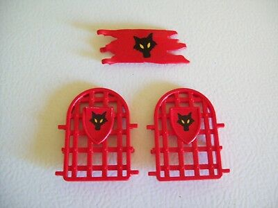 Playmobil Dragon Castle 5757 Lot 2 Red Small Window Grates Bars 1 Small Flag