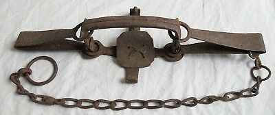 Hand Forged Iron Trap Signed Dated 1820 or 1829 Old Vtg Antique