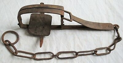 Hand Forged Iron Trap 1800s Single Spring Old Vtg Antique
