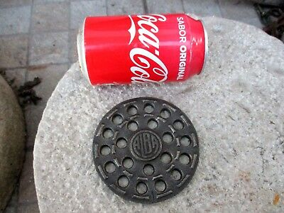 ANTIQUE CAST IRON OLD STOVE PIPE FLUE COVER GRATE WATER FLOOR - VENTILATOR 10cm