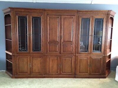 Ethan Allen Wall Unit/ Two Cabinets/Two Angular End Shelves