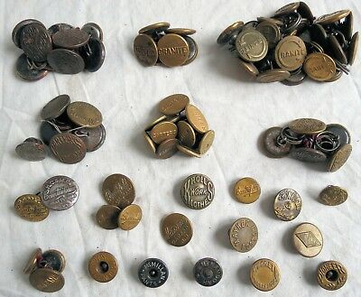 Assorted Overall Pants Trousers Button Lot Collection Old Vtg Antique