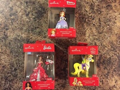 3 Hallmark Disney Princess, Barbie Pony Collectible Ornaments,New in Boxes