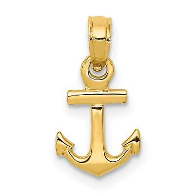 14k Yellow Gold Anchor Solid Polished Charm Pendant 27mmx16mm