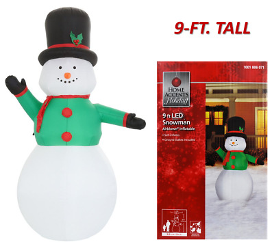 9-FT TALL LED LIGHTED TRADITIONAL SNOWMAN w/HAT AIRBLOWN INFLATABLE MSRP $59.98