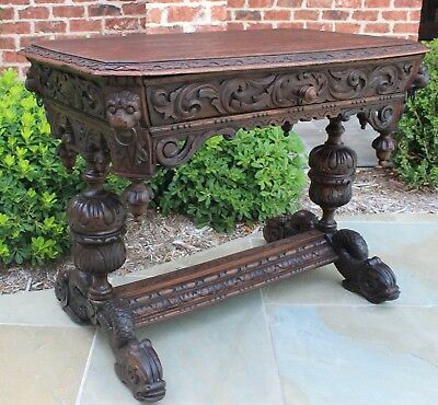 Antique French Oak Gothic Dolphin Table Library Desk Bureau w Drawer Victorian
