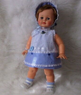 """Vintage Antique Ideal Baby Kissy Doll Stands 22"""" with Custom Sewn Outfit !"""
