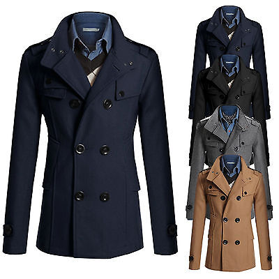 Men Double Breasted Long Trench Coat Winter Warm Outwear Jacket Overcoat Peacoat