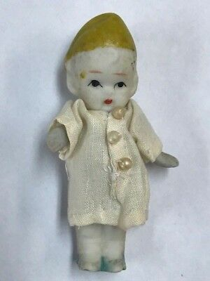 "Antique Porcelain Girl/Boy Baby Figure 3"" w/ Clothes Arms Moves  Made in Japan"