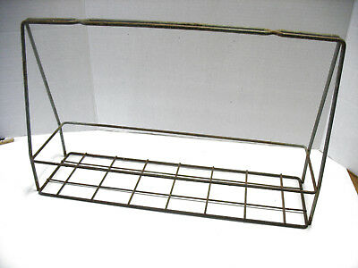 Vintage Long Metal Wire Crate Carrier Basket SODA MILK?