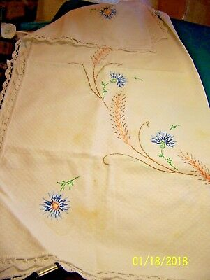Nice Vintage Small White Square TABLE CLOTH With Blue Embroidered Flowers