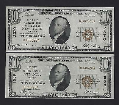 2 x 1929 $10 National Currency Brown Seal Notes – NO RESERVE !