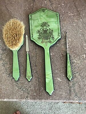 Antique Hairbrush Mirror Boot Hook And Nail File